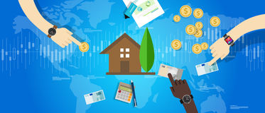 Property housing house market investment price value. Vector Royalty Free Stock Images