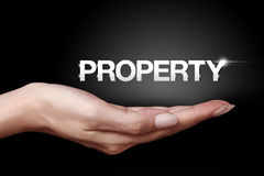 Property icon. Hand showing metal property icon Stock Photography