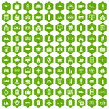 100 property icons hexagon green. 100 property icons set in green hexagon isolated vector illustration Stock Photography