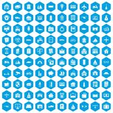 100 property icons set blue. 100 property icons set in blue hexagon isolated vector illustration Stock Images