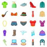Property icons set, cartoon style. Property icons set. Cartoon set of 25 property icons for web isolated on white background Stock Image