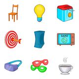 Property icons set, cartoon style vector illustration