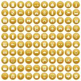 100 property icons set gold. 100 property icons set in gold circle isolated on white vectr illustration stock illustration
