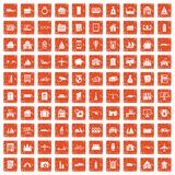 100 property icons set grunge orange. 100 property icons set in grunge style orange color isolated on white background vector illustration Stock Photography