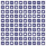 100 property icons set grunge sapphire. 100 property icons set in grunge style sapphire color isolated on white background vector illustration Stock Photography