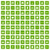 100 property icons set grunge green Stock Photography