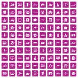 100 property icons set grunge pink. 100 property icons set in grunge style pink color isolated on white background vector illustration Royalty Free Illustration