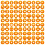 100 property icons set orange. 100 property icons set in orange circle isolated vector illustration Stock Images