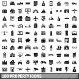 100 property icons set, simple style. 100 property icons set in simple style for any design vector illustration Royalty Free Stock Images