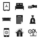 Property icons set, simple style. Property icons set. Simple set of 9 property vector icons for web isolated on white background Royalty Free Stock Images
