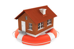 Property insurance concept. House in lifebuoy Stock Images