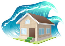Property insurance. Flood. Wave washes away home Stock Photo