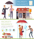 Property Insurance Horizontal Banners. With people under umbrella as symbol protection  from life problems  flat vector illustration Royalty Free Stock Images