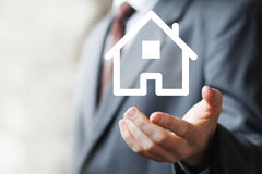 Property insurance house web sign icon home Stock Photography