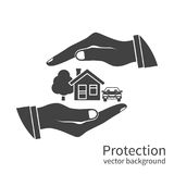 Property insurance icon. Concept security of property, home, car, money. Insurance agent holds in hand of house, protection from danger, providing security Stock Image