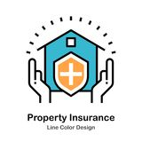 Property Insurance Line Color Icon royalty free illustration