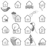 Property insurance icon set. Protection symbol and illustration of insurance claims Stock Image
