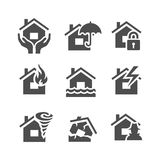 Property insurance icons. Home protections and insurance risks. Vector illustration. Simplus series Stock Images