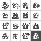 Property insurance icons. Property insurance icon set. Vector illustration. Simplus series Royalty Free Stock Photo