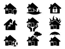 Property insurance icons set. Isolated black Property insurance icons set from white background Royalty Free Stock Photos