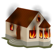 Property Insurance. Private house is on fire. Isolated on white vector 3d illustration Royalty Free Stock Photo