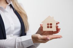 Property insurance and security concept.Real estate agent offer. House Royalty Free Stock Image