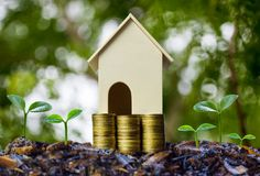 Property investment concepts. A small house model on stack of coins and plant growing on good soil with nature background. Depicts. A lasting and long-term stock photo