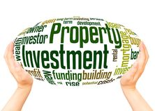 Property Investment word cloud hand sphere concept. On white background royalty free stock photography