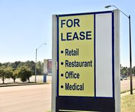 Property for Lease. Retail, Restaurant, Office, Medical or Commercial building property for lease sign Royalty Free Stock Photography