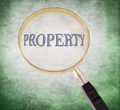 Property magnify. By 3d rendered magnifying glass on green grunge background Royalty Free Stock Photos