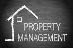 Property Management. Chalkboard with house or home and text stock illustration
