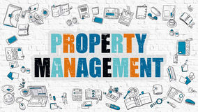 Property Management Concept with Doodle Design Icons. Royalty Free Stock Images