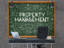 Property Management Concept. Doodle Icons on Chalkboard. Stock Photography