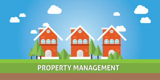 Property management concept. Property management with real estate house cartoon Royalty Free Stock Image