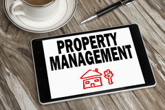 Property management displayed on tablet pc. Property management concept displayed on tablet pc Stock Images