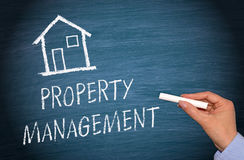 Property Management - female hand writing text. On blue chalkboard royalty free stock photography