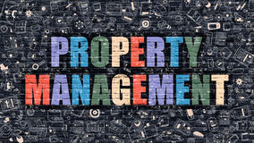 Property Management in Multicolor. Doodle Design. Stock Photography