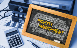 Property management with related word cloud handwritten on black Stock Photos