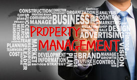 Property management with related word cloud handwritten by busin Royalty Free Stock Images