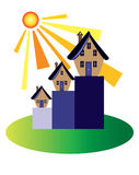 Property market booms. The sun shines on the property market Royalty Free Stock Photo