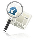 The property market. 3d generated picture of a house silhouette, a newspaper and a magnifying glass vector illustration