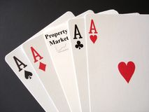 Property Market Gamble. Poker Aces and a Property Market card for a gamble Stock Photos
