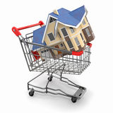 Property market. House in shopping cart Stock Photos