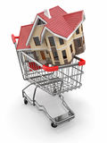Property market. House in shopping cart Royalty Free Stock Images