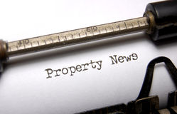 Property news. Real estate theme with the words property news on an old typewriter Stock Photo