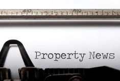 Property News. Printed on an old typewriter Royalty Free Stock Image