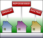 Property Plight colored warning. Illustration of three gradient coloured houses under signs stating unsold, repossessed and evicted on a green gradient Stock Images