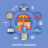 Property  Protection Flat Concept. Property protection flat concept with transport house money insurance from crime disaster accident isolated vector Royalty Free Stock Images