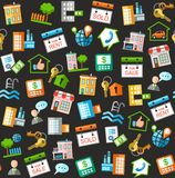 Property and real estate services, black background. Royalty Free Stock Images
