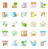 Property and real estate services, colored icons. Royalty Free Stock Images